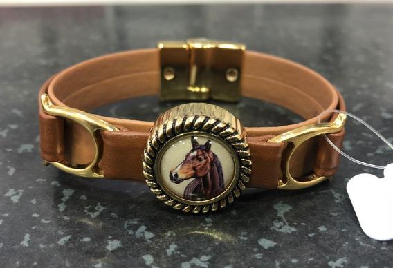Pulseira Bracelete Feminina Banhada A Ouro Hipismo Cavalo