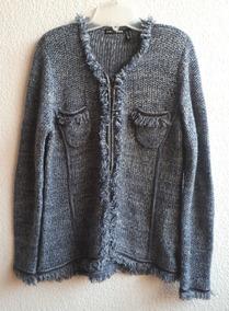 Sweater Tipo Saco Color Azul Con Blanco Punto Roma
