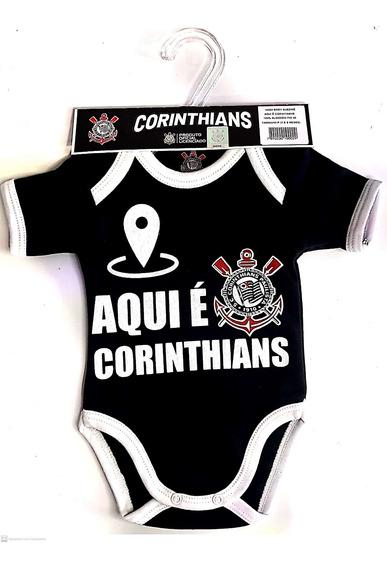 Body Manga Curta Preto Oficial Aqui É Corinthians Unissex