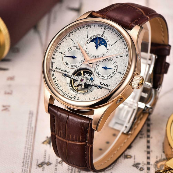 Relógio Lige 6826 Automático Masculino Original Super Luxo