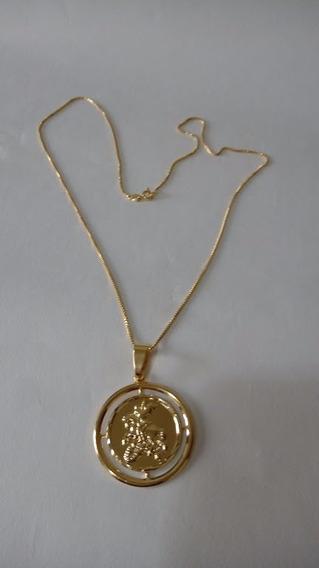 Corrente Masculina Com Medalha De São Jorge Banhada A Ouro18