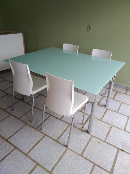 Mesa De Jantar De Vidro, 4 Cadeiras