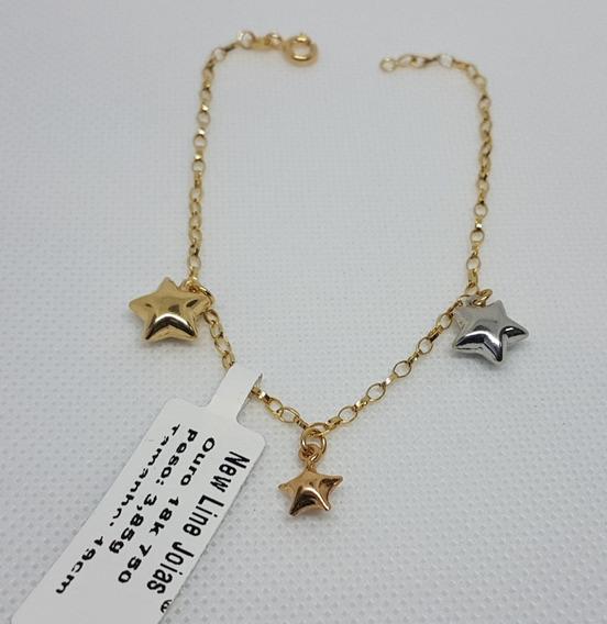 Pulseira Em Ouro 18k 750 Portuguesa Trés Estrelas 3,85g 19cm