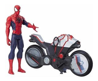 Spiderman Lujo En Moto C/lanzador Int B9767 Original Hasbro