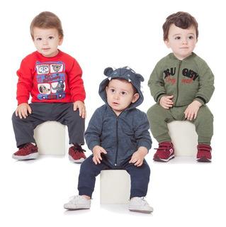 Roupa Bebê Menino Kit 3 Conjuntos Moletom Calça E Casaco
