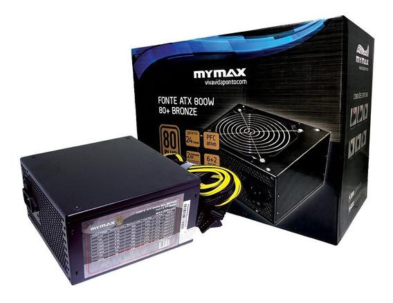 Fonte Atx Mymax 800w 80plus Bronze Pfc Ativo Fp-850w