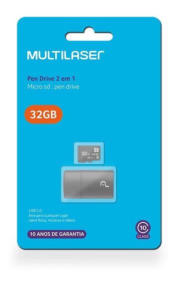 Cartão Memória Micro Sd 32gb Classe 10 Adapta Usb Multilaser