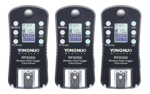 Kit 3 Disparadores Yongnuo Rf605 Para Flash Para Nikon