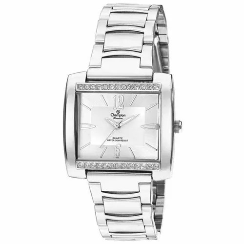 Relógio Feminino Quadrado Prata Grande Champion Top Original