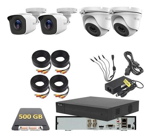 Imagen 1 de 6 de Kit Video Vigilancia Hilook 4 Camaras 1080p 2mp 500 Gb Cctv