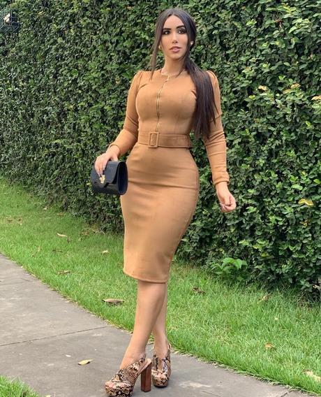 Vestido Midi Tubinho Suede Moda Evangélica
