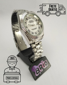 Relógio Masculino Rolex Lançamento 2019 Prata Top Date Just
