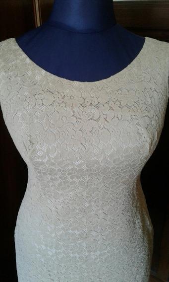 Vestido Encaje Beige Talle 42 Aprox