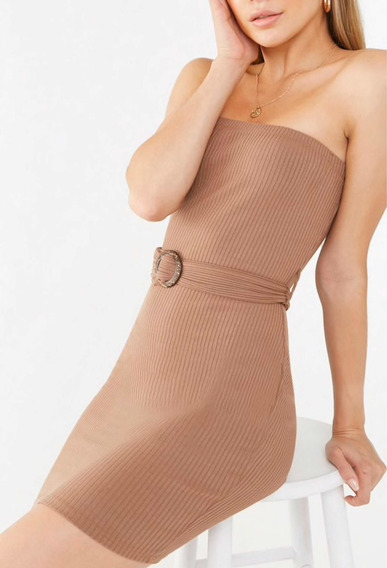 Vestido Strapless Con Cinturón Forever 21 Importado Svoz