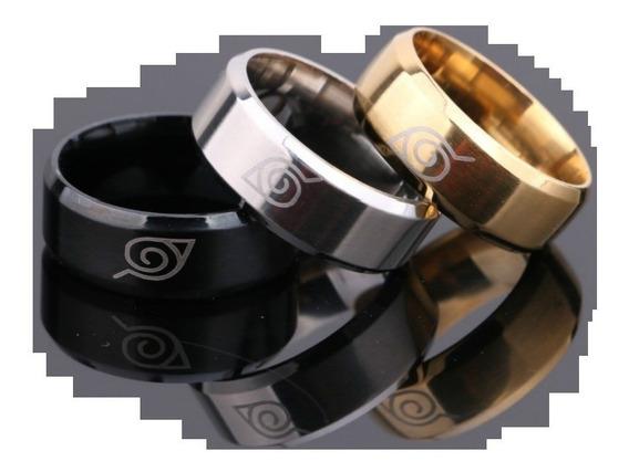 Anel Aliança Naruto Konoha Aço Inoxidável 8mm Escovado