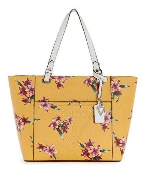 Bolsas Guess Original Amarilla Flores Tote Satchel Para Dama