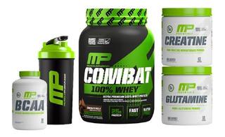 Kit Mp Combat 100% Whey 1,8kg Creatina Glutamina Bcaa +coque
