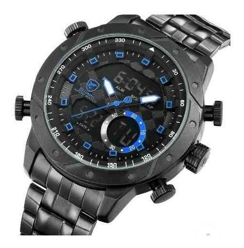 Relógio Masculino Shark Anadigi Sh-593 - Preto E Azul