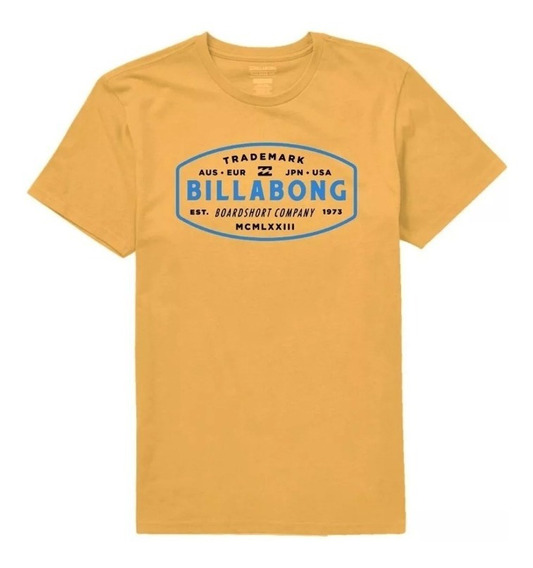 Remera Billabong New Mcm Tee Hombre Mostaza Gris Blanco