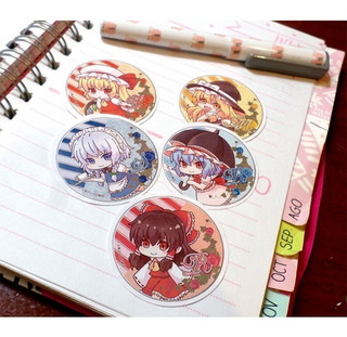 Set De 5 Stickers Circulares De Anime - Touhou Project