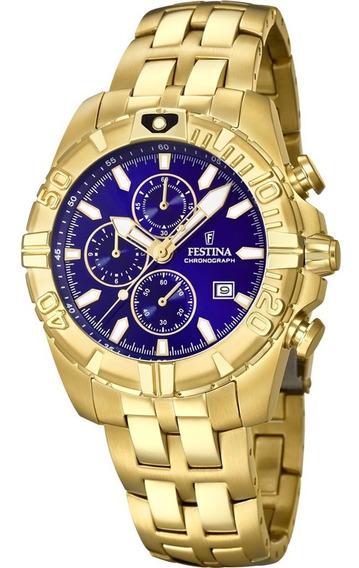 Relógio Festina Dourado Azul Chrono Sport F20356/3