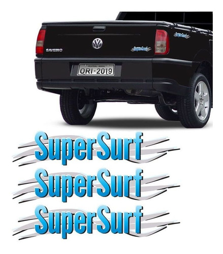 Imagem 1 de 5 de Kit 3 Adesivos Super Surf Saveiro Parati Gol 2003/2008 Azul