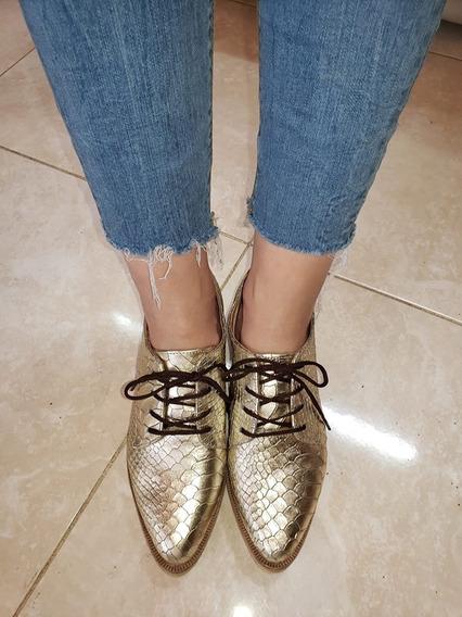 Acordonados Zapatos Slipper Mocasines De Cuero Vacuno Bajos