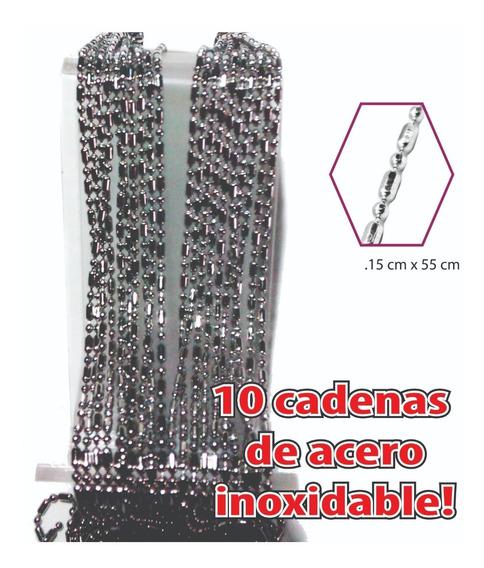 10 Cadena Acero Inoxidable Punto Y Guión 55cm Unisex Mayoreo