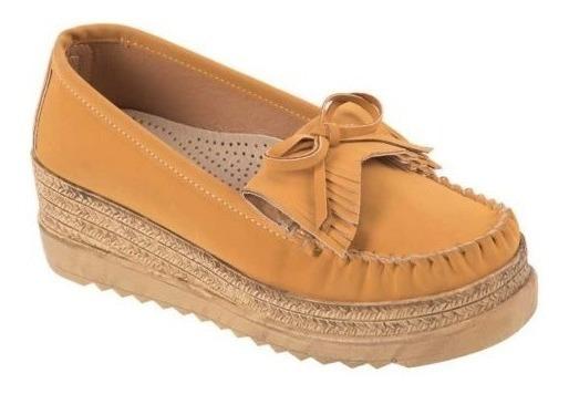 Zapato Tipo Nobuck Alto 5.5 Cm.confort Shosh 4004 Cof 824893