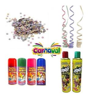 Kit Carnaval Confete + Serpentina + Tinta De Cabelo + Espuma