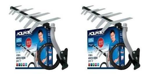 Kit 02 Antenas Externa Digital Hd Aquário + Cabo + Suporte