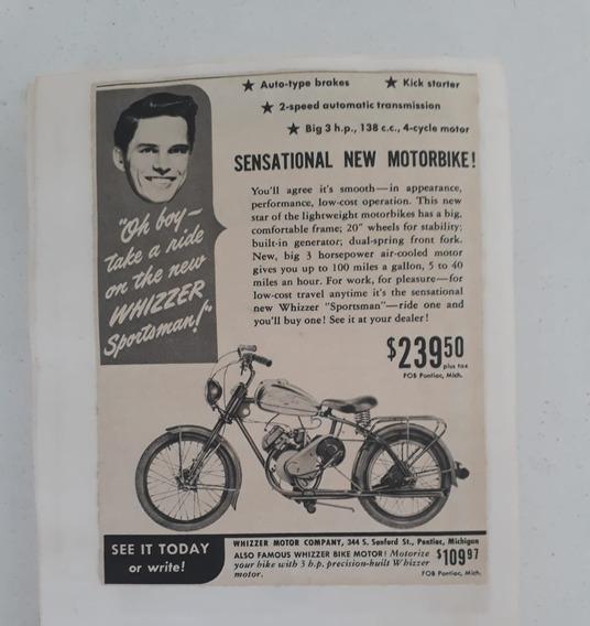 Propaganda Antiga Whizzer Moto Bike Raro Anúncio Publicidade