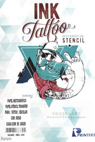Papel Stencil Ink Tattoo 50 Folhas Roxo Tatuagem Carbono