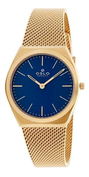 Relogio Oslo Feminino Slim Ofgsss9t0005 Dourado Fundo Azul