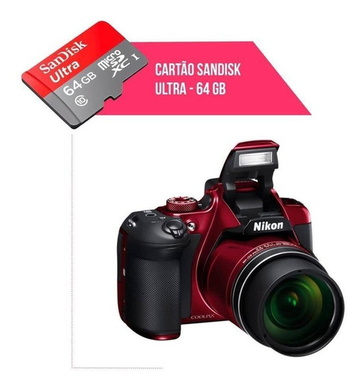 Cartão De Memória 64gb Ultra Para Câmera Nikon Coolpix B700