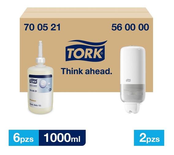 Tork Dispensador + Jabón Liquido Prem 6 Envases / 1000 Ml