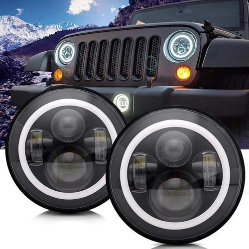 Juego Optica 7 Pulgada Faro Led Jeep Wrangler Ika F100 Willy