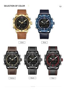Reloj Naviforce 9144 Digit/analogo Crono Luz Alarm Cuero Jap