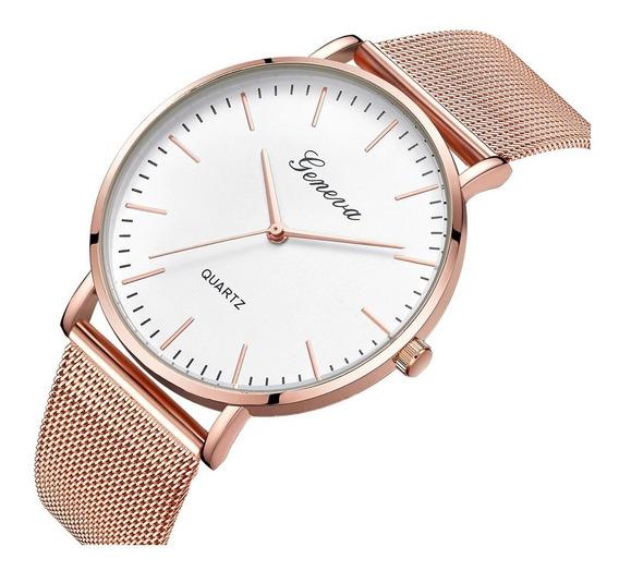 Relógio Geneva Unissex Est Social Elegante Básico Black Rosê
