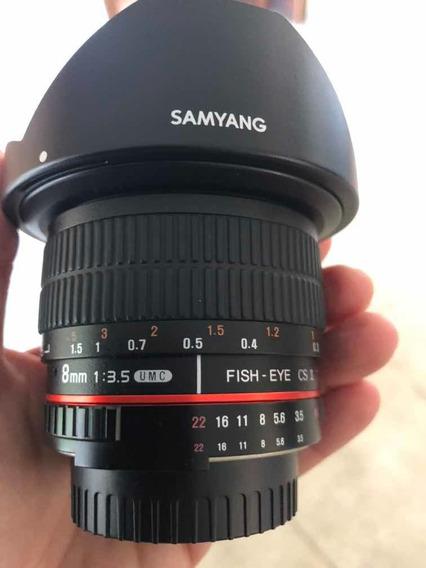 Lente Olho De Peixe Samyang Para Câmera Nikon Usada