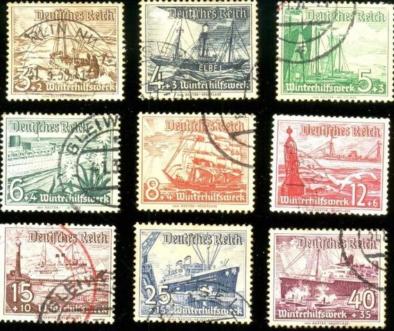 Alemanha Reich 1937 Campanha De Caridade Navios Veja + Selos