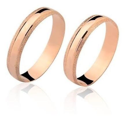 Alianças Casamento Ouro Rosê Diamantadas 3,5mm 3.5g