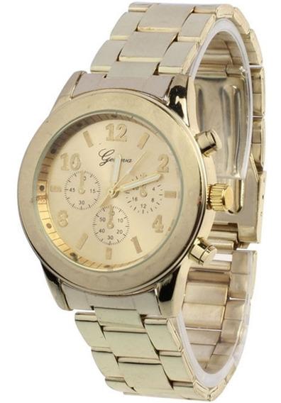 Relógio Feminino Geneva Dourado Pulseira De Aço Frete Grátis