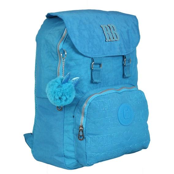 Mochila Juvenil Rebecca Bonbon Crinkle Pompom Rb9131 - Azul