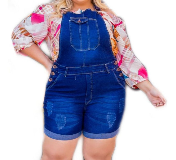 Jardineira Jeans Plus Size Exclusividade Verão Atua - Ref 16