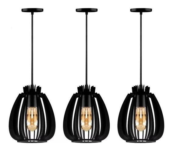 Trio Luminária Lustre Pendente Madeira Odim Soquete E27