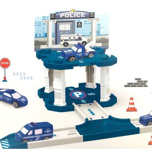 Estación De Policia 1 Nivel Juguete Con Auto Y Pista