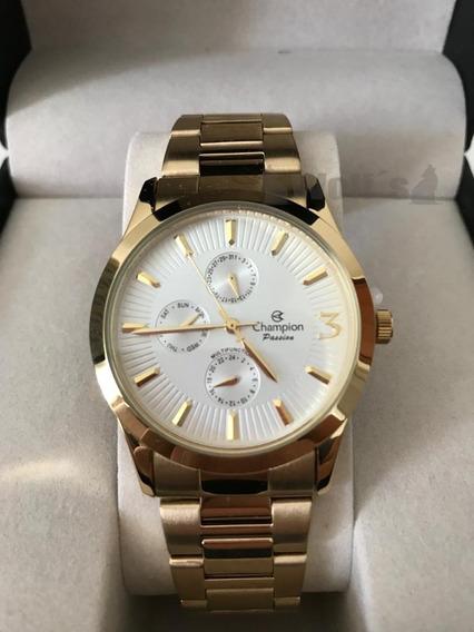Relógio Feminino Dourado Multifuncional Original Champion