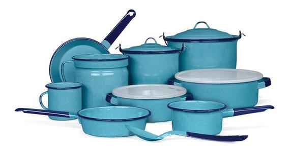 Batería De Cocina Alejandra 14 Piezas Color Azul Cinsa