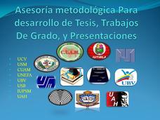 Tesis, Asesoria Metodologica Para El Desarrollo De Tesis